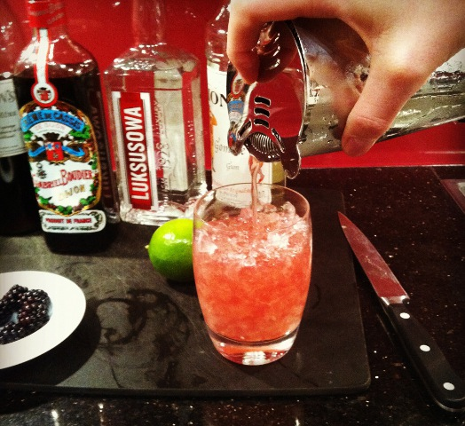 Pouring the cocktail