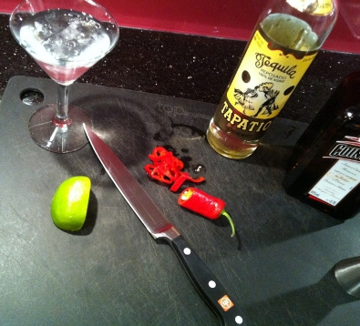 Chilled glass and chopped chilli